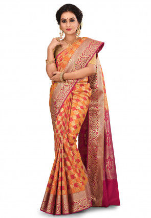 Kanchipuram Saree in Red and Orange