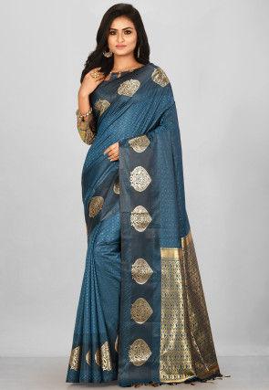 Kanchipuram Saree in Teal Blue
