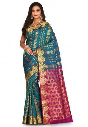 Kanchipuram Saree in Teal Green and Blue Dual Tone