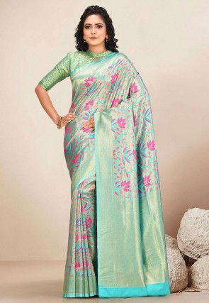 Kanchipuram Saree in Turquoise and Golden