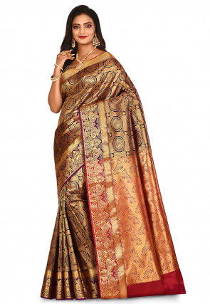 Kanchipuram Saree in Violet and Golden