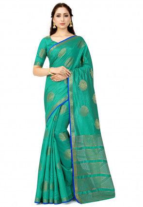 Kanchipuram Tussar Silk Saree in Teal Green
