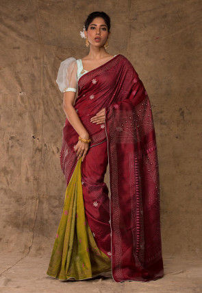 Kantha Embroidered Art Silk Saree in Maroon and Olive Green