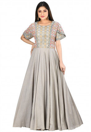 Kantha Embroidered Cotton Gown in Light Grey