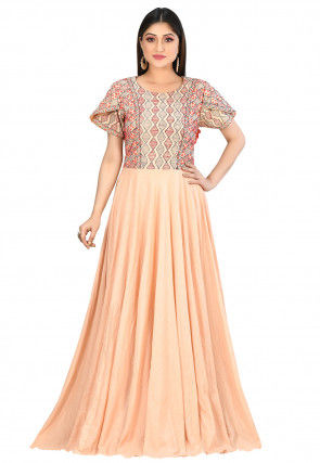 Kantha Embroidered Cotton Gown in Light Peach