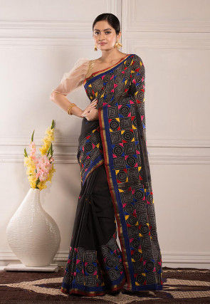 Kantha Embroidered Cotton Saree in Black