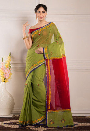 Kantha Embroidered Cotton Saree in Green