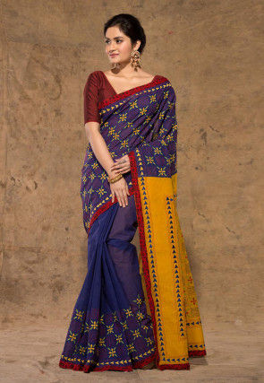 Kantha Embroidered Cotton Saree in Indigo Blue