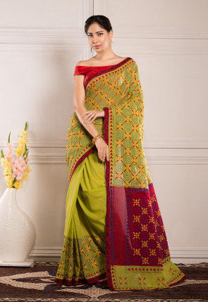 Kantha Embroidered Cotton Saree in Light Green