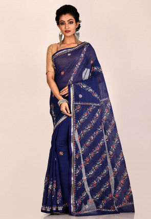 Kantha Embroidered Cotton Saree in Navy Blue