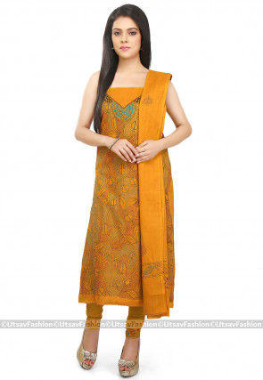 Kantha Embroidered Cotton Straight Suit in Mustard