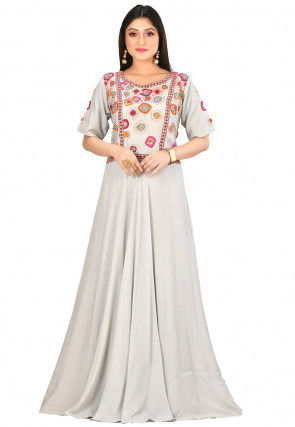 Kantha Embroidered Muslin Silk Gown in Light Grey