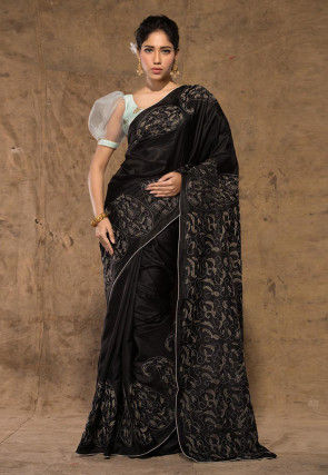 Kantha Embroidered Pure Silk Saree in Black