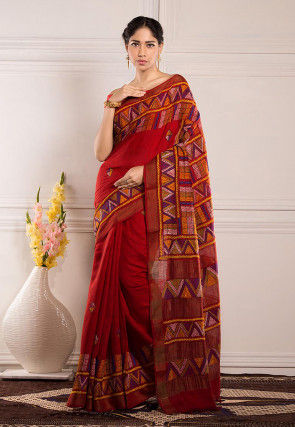 Kantha Embroidered Tussar Silk Saree in Red