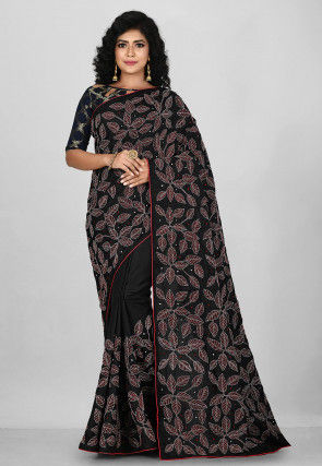 Kantha Hand Embroidered Bangalore Silk Saree in Black