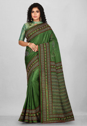 Kantha Hand Embroidered Bangalore Silk Saree in Green