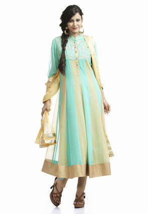 Embroidered Viscose Anarkali Suit In Turquoise and Beige