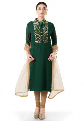 Embroidered Straight Cut Suit in Dark Green