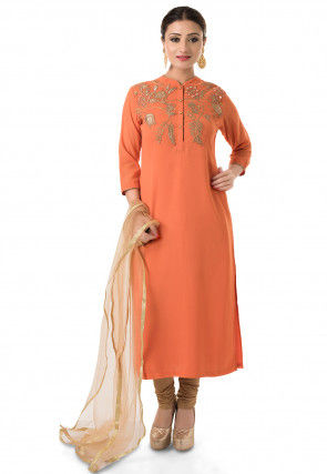 Embroidered Straight Cut Suit in Orange