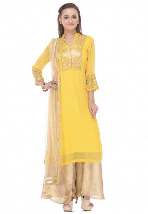 Embroidered Straight Cut Viscose Suit in Yellow