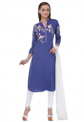 Embroidered Straight Cut Rayon Suit in Blue