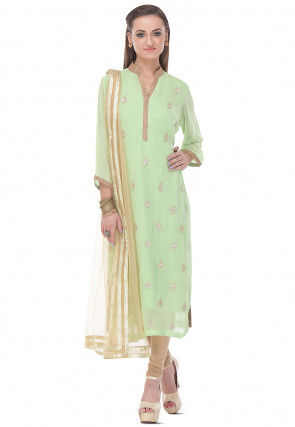 Hand Embroidered Straight Cut Viscose Suit in Green