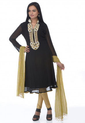 Embroidered A Line Georgette Suit in Black