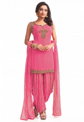 Embroidered Georgette Punjabi Suit in Peach