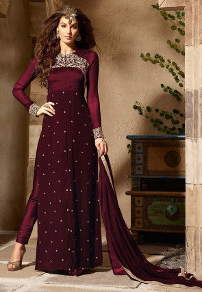 Embroidered Georgette and Art Silk Pakistani Suit in Wine