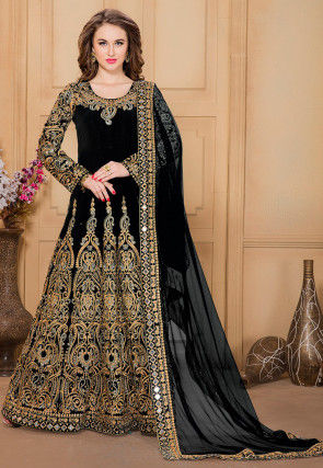 Embroidered Taffeta Abaya Style Suit in Black