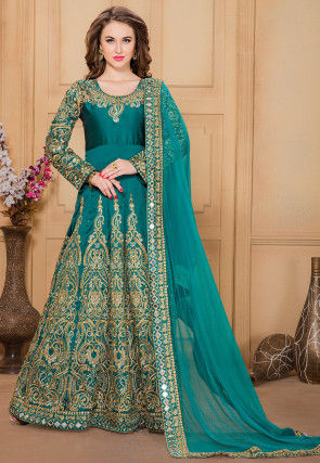 Embroidered Taffeta Abaya Style Suit in Teal Green