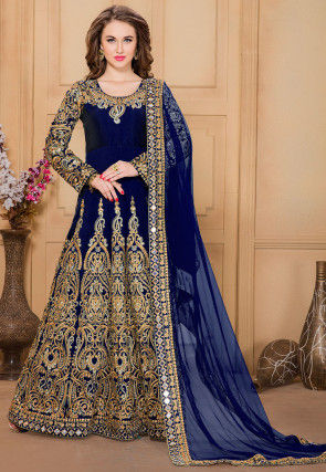 Embroidered Taffeta Abaya Style Suit in Navy Blue