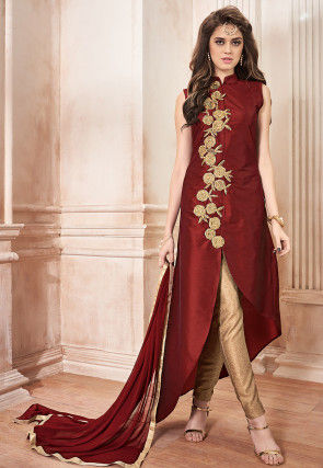 Embroidered Taffeta Silk Pakistani Suit in Maroon