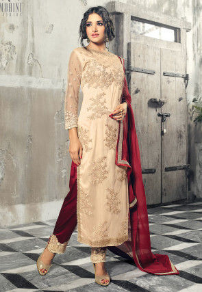 Embroidered Net Pakistani Style Suit in Cream