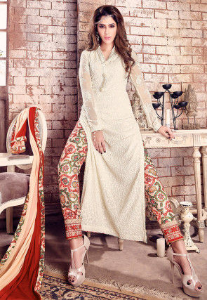 Embroidered Georgette Pakistani Suit in Off White