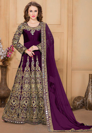Embroidered Taffeta Abaya Style Suit in Violet