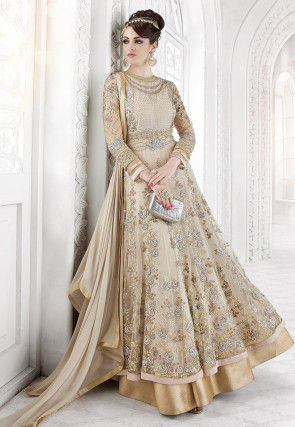 Embroidered Net and Georgette Abaya Style Suit in Beige