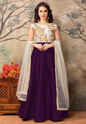 Embroidered Art Silk Abaya Style Suit in Violet and Off White