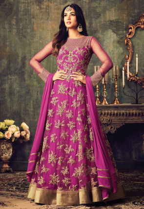 Embroidered Net Abaya Style Suit In Fuchsia