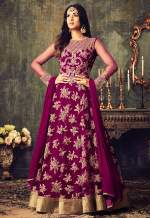 Embroidered Net Abaya Style Suit in Magenta