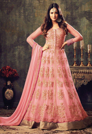 Embroidered Net Abaya Style Suit in Peach
