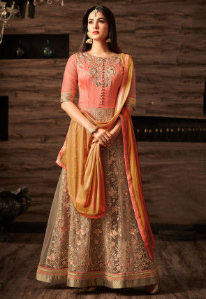 Embroidered Art Silk Abaya Style Suit in Peach and Beige
