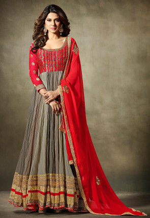 Embroidered Georgette Abaya Style Suit in Red and Fawn