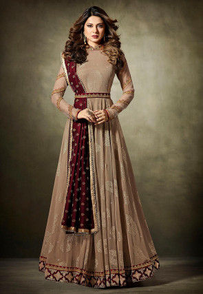 Embroidered Lycra Jacquard Abaya Style Suit in Dark beige