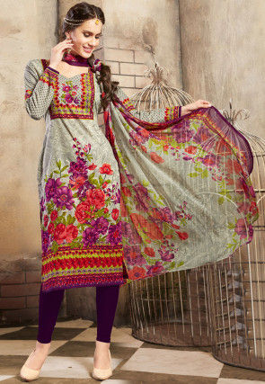 Printed Poly Cotton Pakistani Suit in Grey