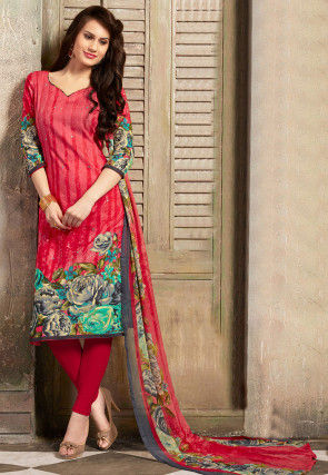 Printed Poly Cotton Straight Cut Suit in Red