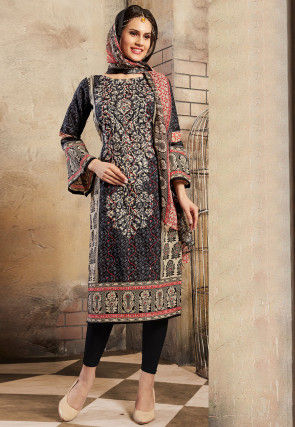 Printed Poly Cotton Pakistani Suit in Multicolor