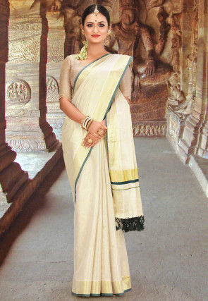 Kerala Kasavu Cotton Saree in Beige