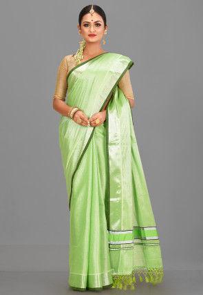 Kerala Kasavu Cotton Saree in Light Green