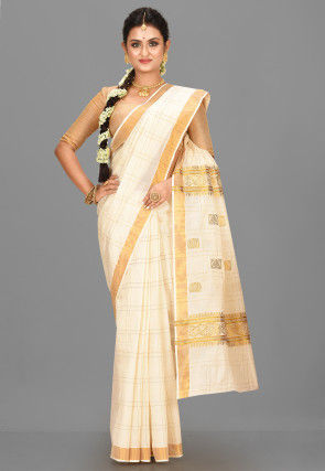 Kerala Kasavu Cotton Saree in Off White